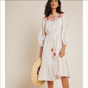 Saylor Dacey striped embroidered maxi Dress shell